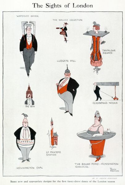 Humorous designs for London fancy dress parties by William Heath Robinson. Please note: Credit must appear as Courtesy of the estate of Mrs J.C.Robinson/Pollinger Ltd/ILN/Mary Evans