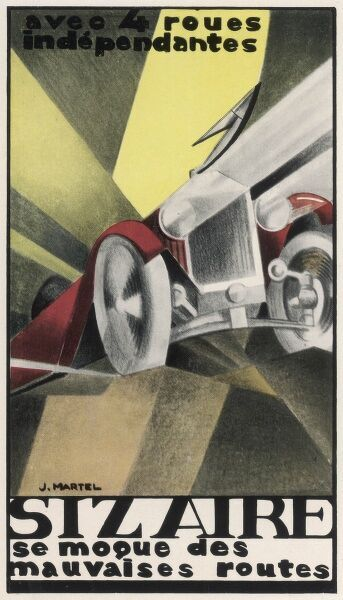 Art deco inspired poster for the Sizaire car with its headlamps blazing