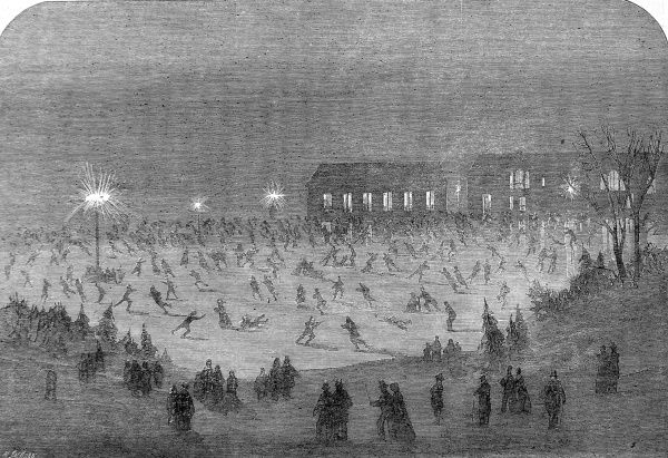 Engraving showing a night scene on the lake in Central Park, New York, during the winter of 1864-5. New Yorkers were able to skate in the darkness with the help of artificial lighting