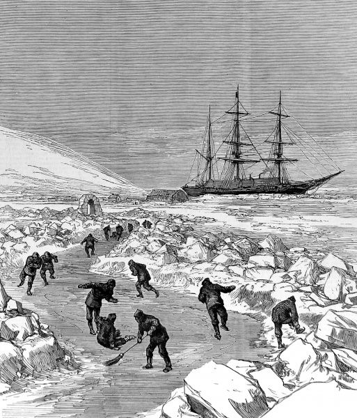 Engraving showing the skating rink that was created beside the winter quarters of HMS 'Discovery' during the British Arctic Expedition of 1875-1876. In the summer of 1875 the British Admiralty sent Captain George Nares with two ships