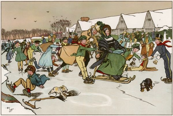 A Christmas skating party in the countryside