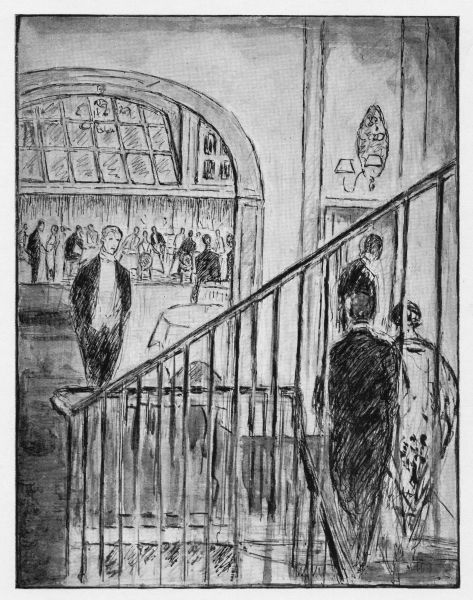 Sketch of arriving at Chez Victor, London, 1926 for a dinner and dance Date: 1926