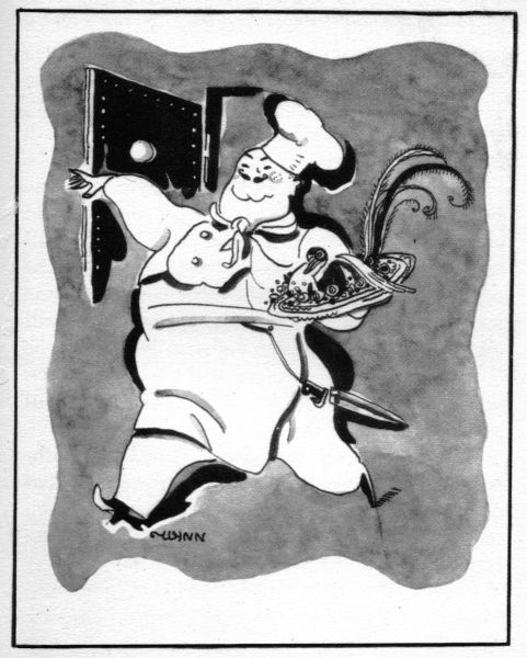 Sketch of the Chef at Guillaume-le-Conquerant restaurant, near Deauville. Artwork by Wynn Date: 1929