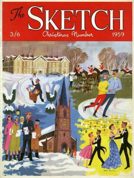 Front cover illustration by Leslie Wood for the Christmas Number of The Sketch 1959, featuring carol singers, dancers at a party, ice skaters and a post man. Date: 1959