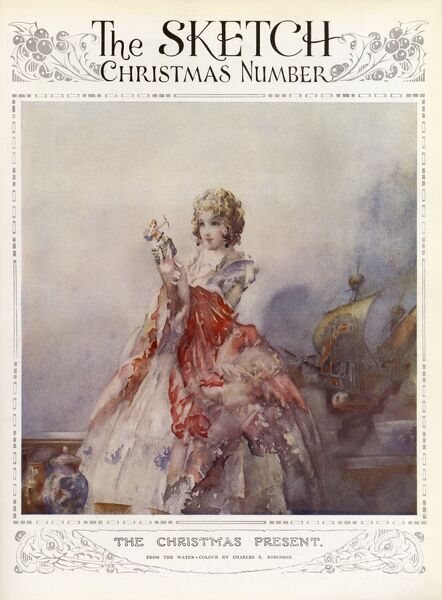 Secondary front cover of The Sketch magazine featuring an illustration by Charles Robinson of a young woman in an 18th century dress looking with wonder at a figurine. A ship in the background suggests her exotic gifts have come from overseas