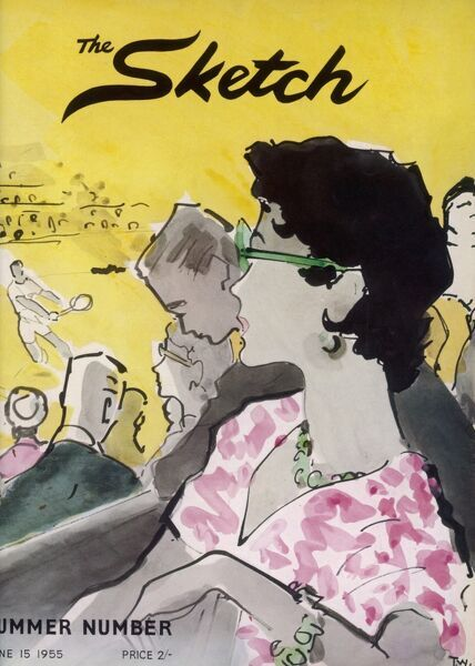 Fabulous front cover illustration showing the crowd at Wimbledon watching a match. The woman at the centre of the picture sports green rimmed sunglasses which match her necklace and bracelet