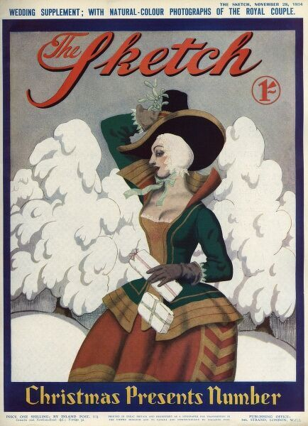 Front cover of The Sketch magazine, Christmas Presents Number 1934 showing a woman in 17th century costume walking through the snow with some Christmas presents or parcels in her arms. A sprig of mistletoe adds a festive flourish to her hat