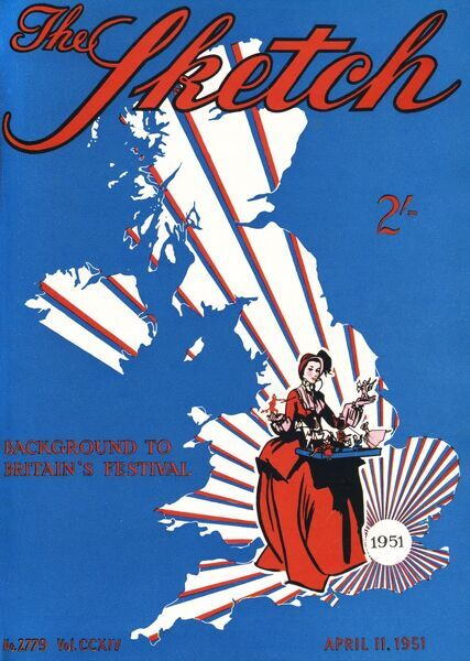 Front cover of the Sketch magazine, showing a map of the United Kingdom with rays emanating from the London area, together with a lady in historical costume holding a tray of toys, to represent the Festival of Britain about to open on London's South Bank