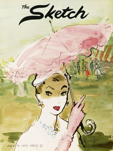 A colour illustration for the front cover of The Sketch depicting a lady with a pink parasol