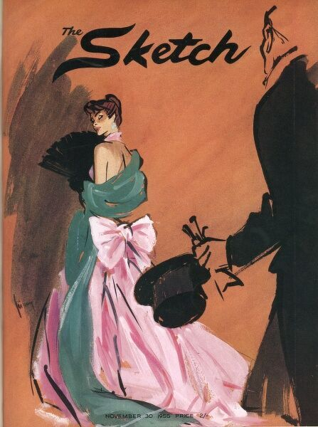 A colour illustration for the front cover of The Sketch, depicting a shy lading hiding from a gentleman who wants to dance with her