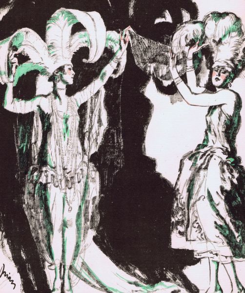 Sketch by Drian of the Dolly Sisters wearing Paul Poiret costumes in League of Notions, London, 1921