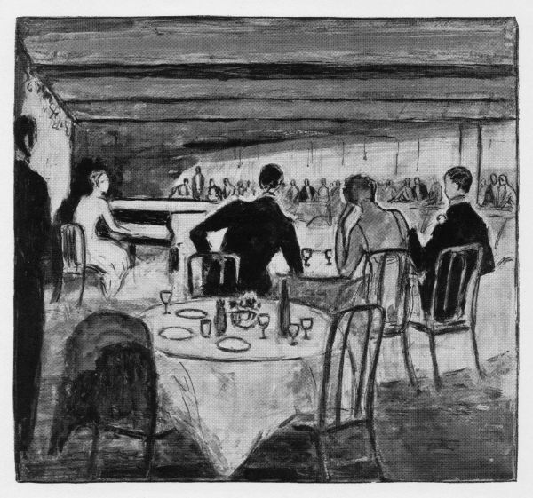 Sketch of the interior of Chez Henri, London, 1926 Date: 1926
