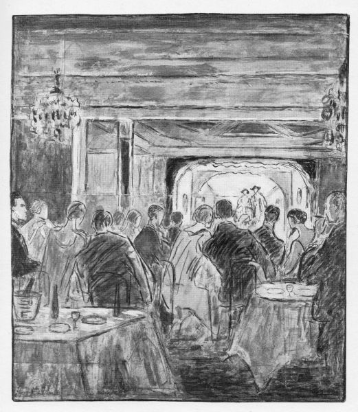 Sketch of the interior of the Trocadero cabaret, London, 1926 showing the diners, the stage and the cabaret 'Merry-Go-Round' in progress Date: 1926