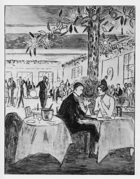 Sketch of the interior of Uncles Club, London, 1926 Date: 1926
