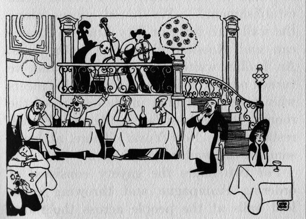 Sketch of Maxim's restaurant in Paris. Artwork by Herb Roth Date: 1914