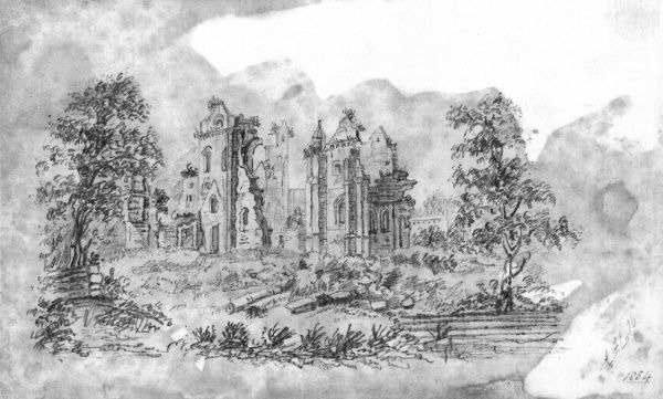 An unnamed abbey stands in ruins. Nature is slowly taking over as plants sprout from the masonry. Date: 1854