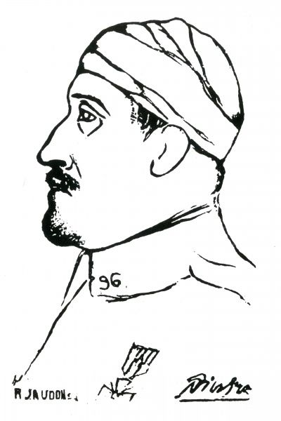Profile sketch of a soldier during the First World War with his head bandaged and a medal on his chest. Date: 1914-1918
