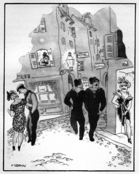 Sketch of a typical street scene in Marseilles - the world's wickedest port - 1920s (showing narrow streets, sisters of scarlet and sailors). Artwork by Wynn Date: 1929