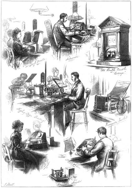 Sketches showing scenes and different types of apparatus used at the Central Telegraph Establishment at the General Post Office, including the type printing telegraph, the 'direct writer' or autographic telegraph, the single needle