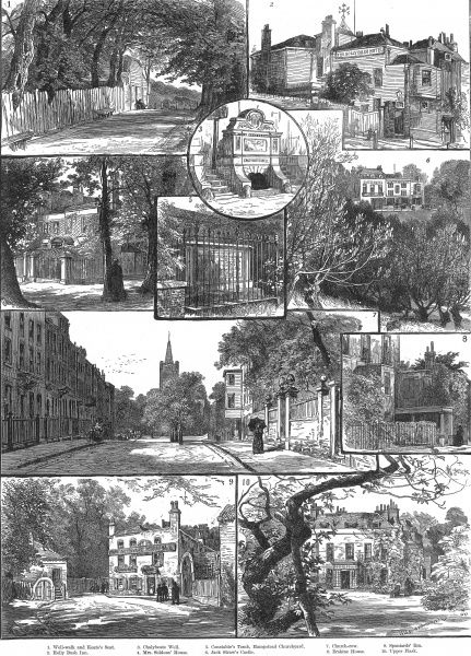 Engraving showing a serices of scenes around Hampstead, in London, 1886. The images show (clockwise from top left): Well Walk and Keat's Seat; Holly Bush Inn; Jack Straw's Castle; Erskine House; Upper Flask; Spaniard's Inn; Church Row; Mrs