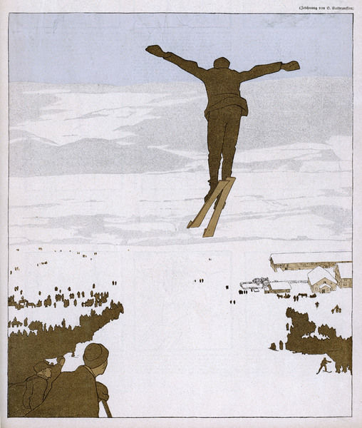 A skier flies through the air