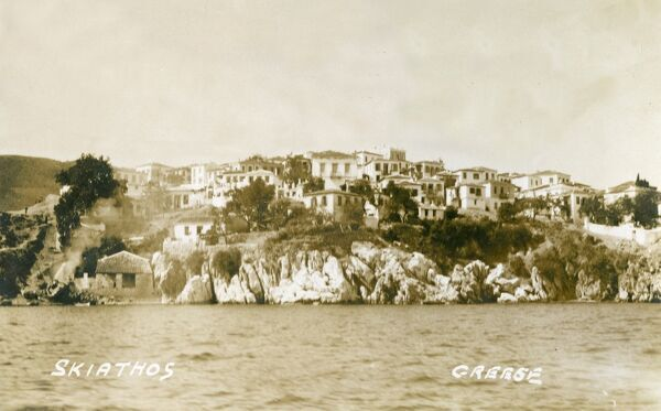 A settlement on Skiathos, a small island in the Aegean Sea belonging to Greece and the westernmost island in the Northern Sporades group