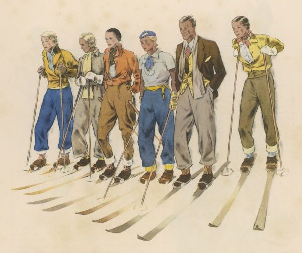 A mixed group of skiers standing in a line