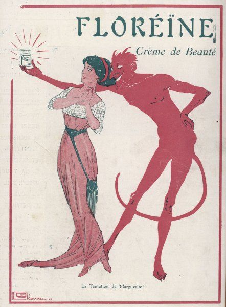 A devil tries to tempt a lady with Floreine beauty cream