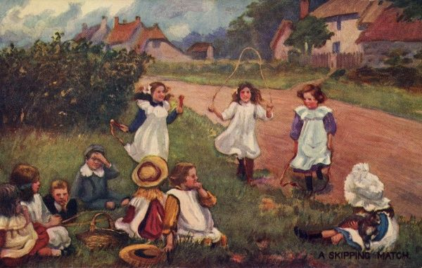 Skipping. Artist Anon. Children skipping in on a village road Date: 1911