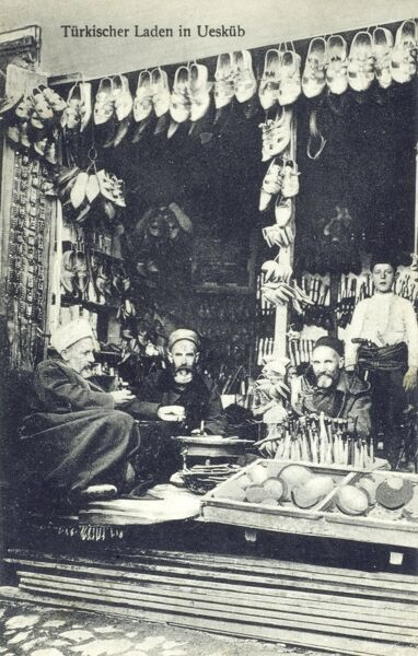 Skopje, Macedonia - Turkish Knife and shoe stall Date: circa 1910s