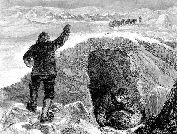 Engraving showing a sledging party leaving an invalid, and a carer, in an ice cave; then heading back to base to fetch help, British Arctic Expedition, 1875-1876