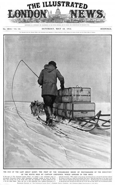 Illustration showing one of the members of Roald Amundsen's Antarctic Expedition of 1910-12, ski-ing beside his sledge on the way to the South Pole. A team of dogs can be seen in front of the man, pulling the sledge. Date: 1912