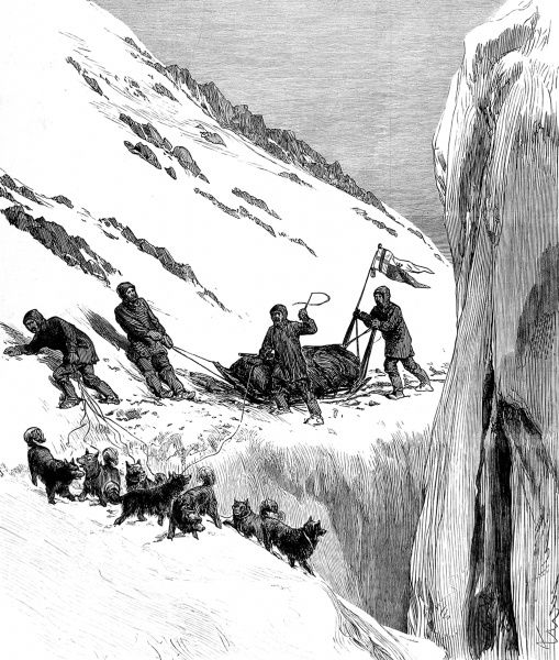 Engraving showing a sledging party making an overland journey between HMS 'Alert' and HMS 'Discovery' during the British Arctic Expedition of 1875-1876. In the summer of 1875 the British Admiralty sent Captain George Nares with two ships