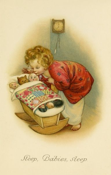 Sleep, Babies, Sleep. A little girl puts her toys and dolls into a cradle and kisses them goodnight