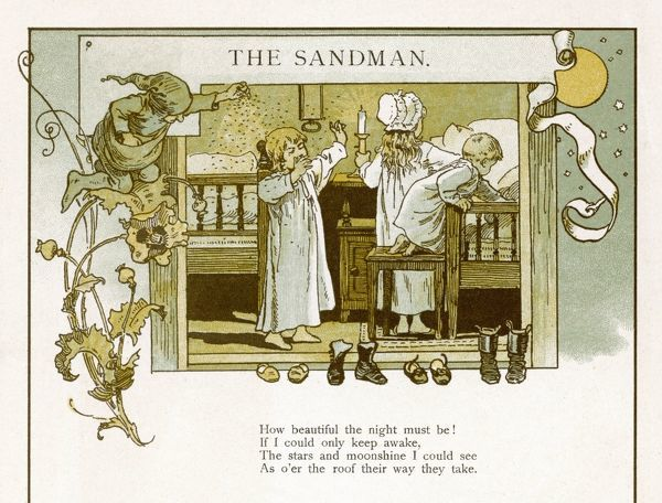 The Sandman sprinkles sand on children's eyes, making them sleepy and ready for bed