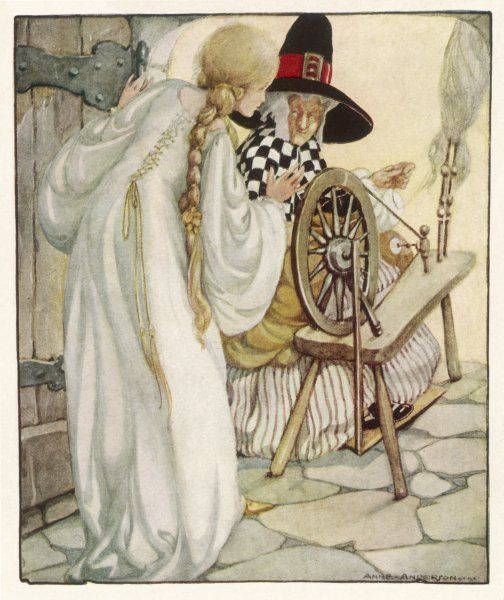 The witch shows 'Sleeping Beauty' the spinning wheel (Grimm)