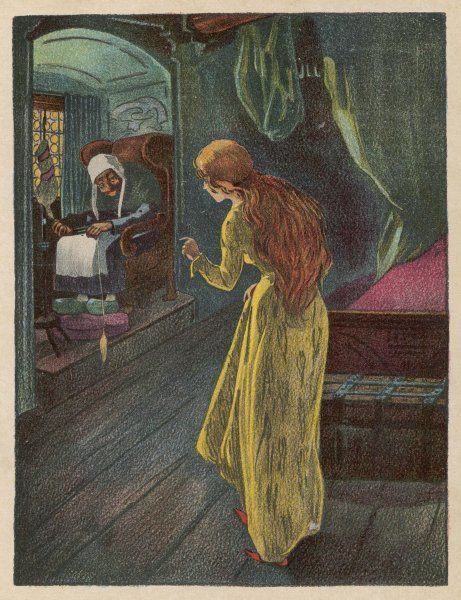 The princess, at the age of 15, finds an old lady spinning: the witch's prophecy is about to come true... she will prick her finger and fall into a long sleep