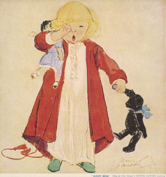 A little blonde girl, yawning and rubbing her eyes, wanders up to bed in her dressing gown, laden with soft toys