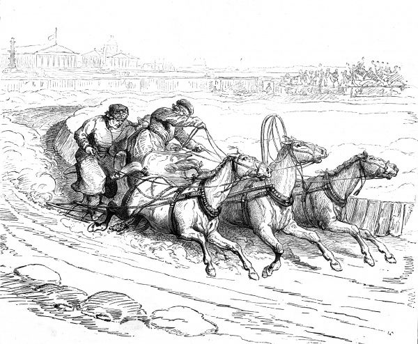 Engraving showing a horse-drawn sleigh race in progress in St. Petersburgh, Russia, in 1877. This image shows two men riding the sleigh, round a tight corner. Date: 26 May 1877