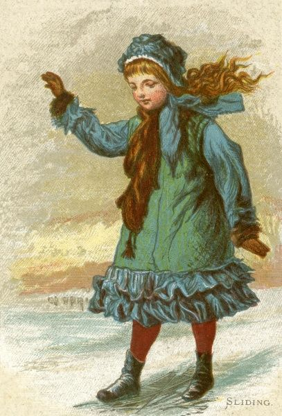 A Victorian little girl, dressed in a fancy coordinating frilled coat and bonnet slides on some ice