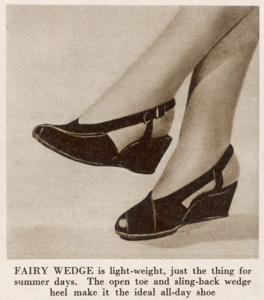 In a feature entitled 'Best Foot Forward' we are introduced to the Fairy Wedge, open toe, sling back shoe, just the thing for summer days