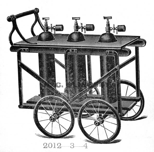 Oxygen bottle truck (This is just one of 100s of specialisefd trucks etc in this catalogue) Date: circa 1900