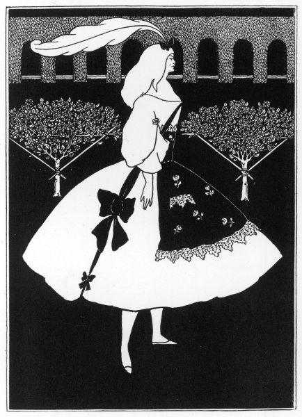 The Slippers of Cinderella. Cinderella in a white dress with bows against the dark background of a formal garden. Illustration by Aubrey Beardsley in The Yellow Book, volume II, July 1894