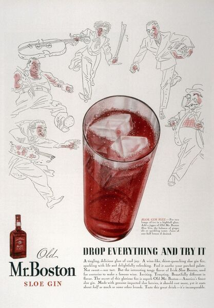 Advertisement for old Mr.Boston slow gin - 'drop everything and try it&#39