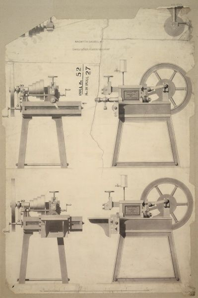 Small lever planing machine, front, back and side elevations Date: 1841