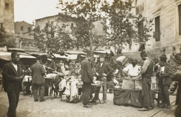 A scene in a small outdoor market at Istanbul (Constantinople), Turkey