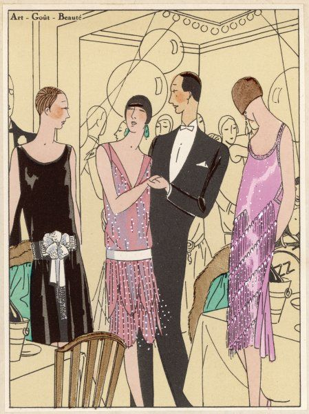 Female party guests eye each others' creations by Paul Poiret, Doucet and Premet ; the one man just wears clothes