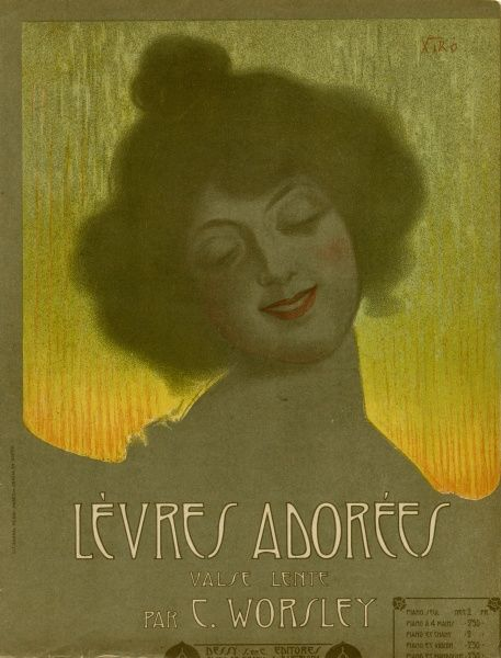 A smiling woman illustrates the cover of a slow waltz called Levres Adorees (lovely lips). Date: 1906