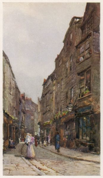 A narrow London street, not greatly changed since Elizabethan times - Cloth Alley, Smithfield