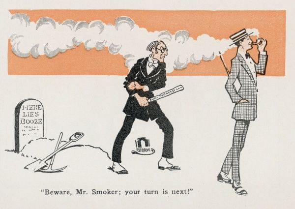 Prohibition in the USA : - Beware, Mr Smoker, your turn is next !